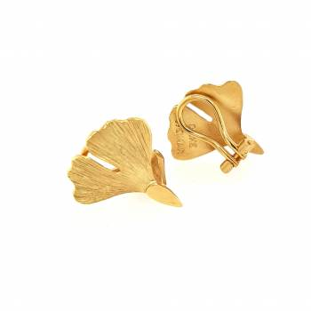Ginkgo Ohrclip Sterlingsilber 925 vergoldet Nr. 20-925-vg