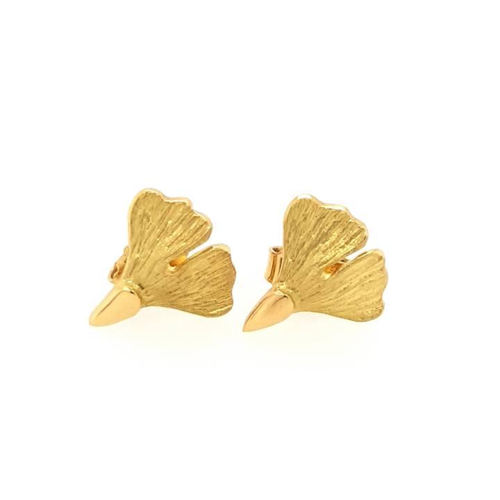 Ginkgo Ohrstecker klein Gold 750