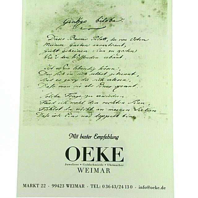 Gedicht Von Goethe über Ginkgo Juwelier Oeke Weimar