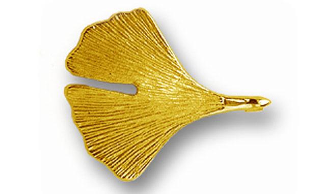 Ginkgobrosche in 585er Gold