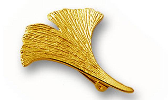 Ginkgobrosche in 925er Silber vergoldet