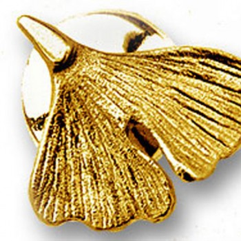 Ginkgo Stick Pin in 585er Gold