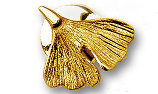 Ginkgo Stick Pin in 585er Gold
