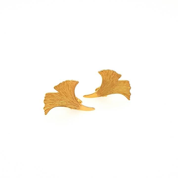 Ginkgo Ohrstecker Sterlingsilber 925 vergoldet Nr. 52-925vg