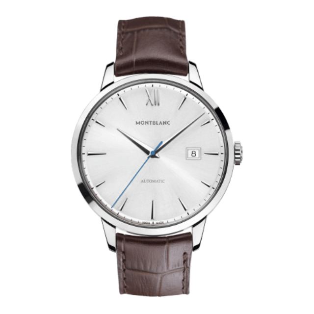 Montblanc Uhr Heritage Date aus Edelstahl mit Lederarmband