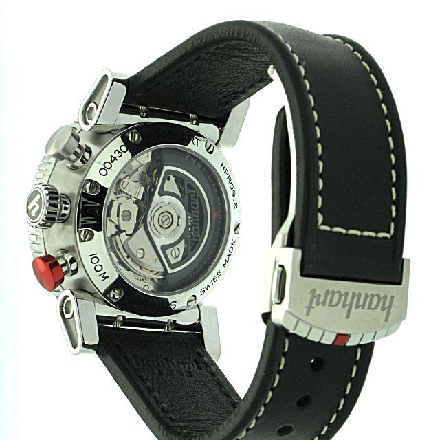 Hanhart Primus Racer 741.220-0020: Rückseite des Chronograph in silber aus Edelstahl mit transparentem Gehäuseboden und schwarzem Textilarmband