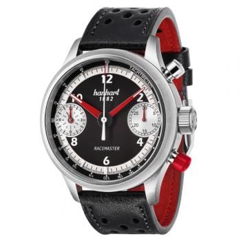 Hanhart Racemaster GT 736.600-0010: Vorderseite des Chronograph in schwarz und weiß aus Edelstahl mit weißen und roten Zeigern und schwarz-rot Lederarmband