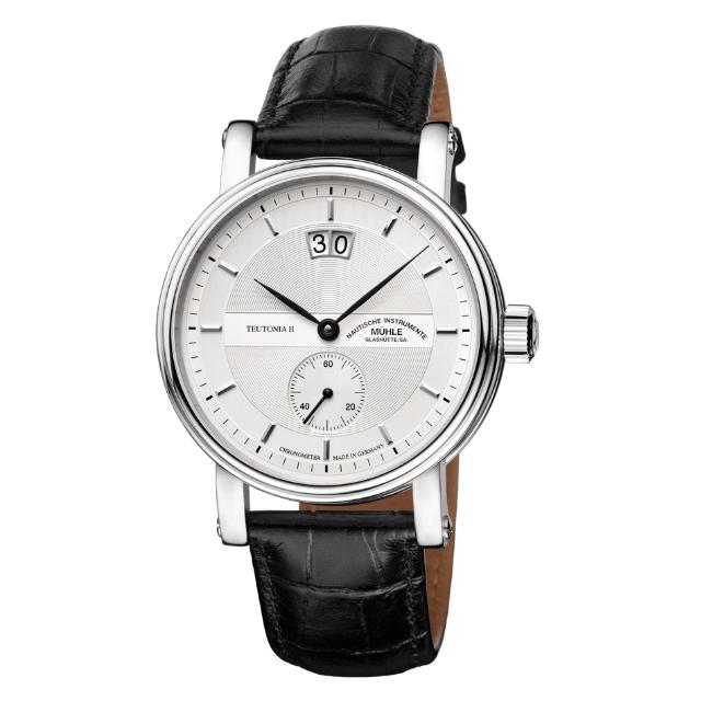 Mühle Glashütte Teutonia II Großdatum Chronometer Uhr aus Edelstahl mit Lederarmband