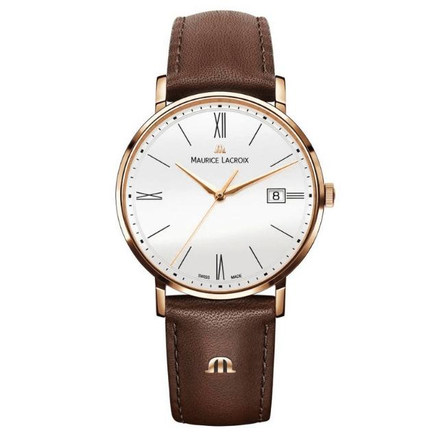 Maurice Lacroix Eliros Uhr aus Edelstahl mit Lederarmband