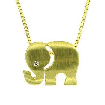 Anhänger Elefant Gelbgold