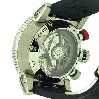 Hanhart Primus Diver 742.270-1320: Rückseite des Chronograph in sibler aus Edelstahl mit transparentem Gehäuseboden und schwarzem Kautschuk-Armband