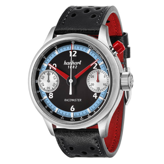 Hanhart Racemaster GTM 737.670-0010: Vorderseite des Chronograph in schwarz-blau aus Edelstahl mit weißen und roten Zeigern und schwarz-rotem Lederarmband