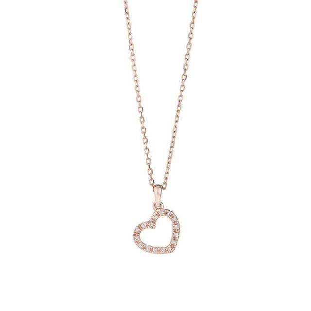 Diamant Collier Herz Gelb-Weißgold 0,04ct P0140C51