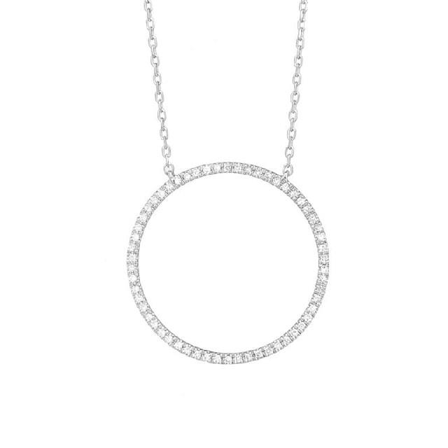 Diamant Collier Kreis groß Weißgold 0,13ct P0140Q25