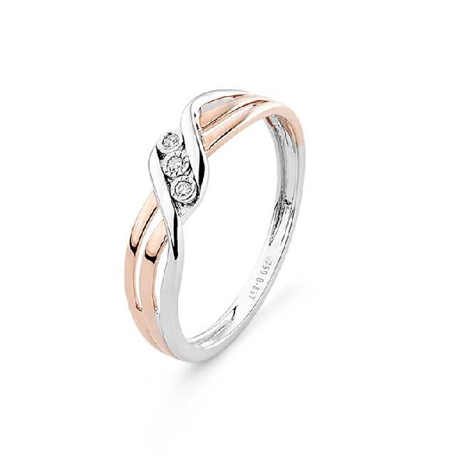Diamantring Rosé-Weißgold 0,02ct