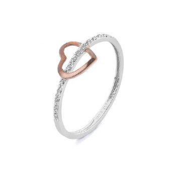 Diamantring Weiß-Roségold Herz 0,04ct R0140Q77