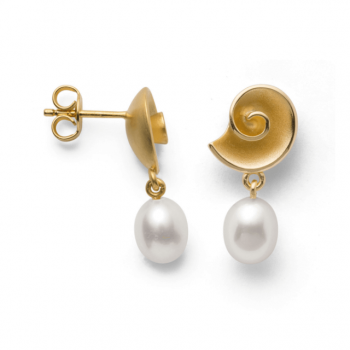 Bastian Ohrstecker Silber vergoldet mit Perle 12781