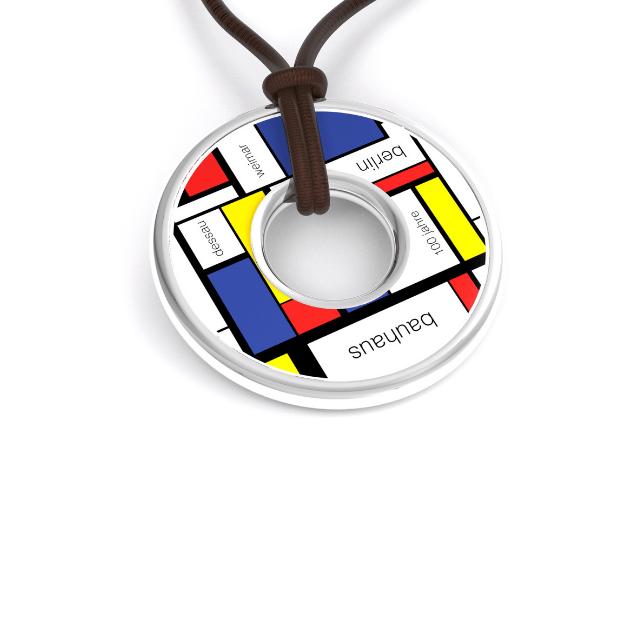 Bauhaus Taler Silber mit Lederband