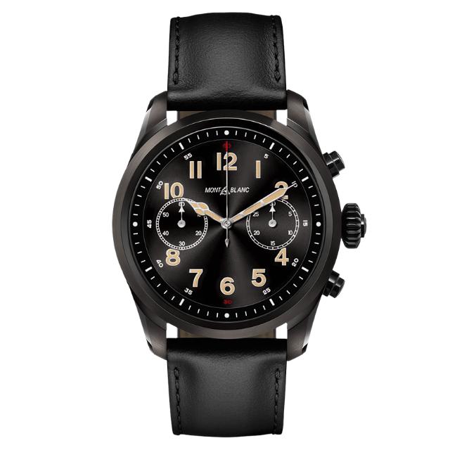Montblanc Uhr Summit 2 Smartwatch aus Edelstahl mit Lederarmband