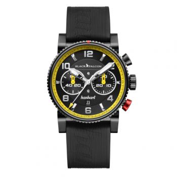 Hanhart PRIMUS Black Falcon 741.511-BF02: Vorderseite des Chronograph in schwarz und gelb aus Edelstahl mit weißen und silbernen Zeigern und schwarzem Kautschuk-Armband