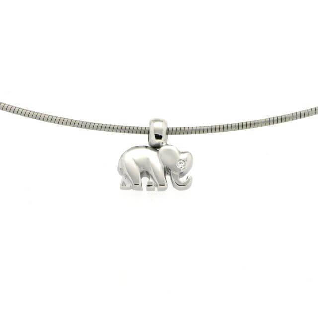 Elefanten Anhänger klein Weißgold