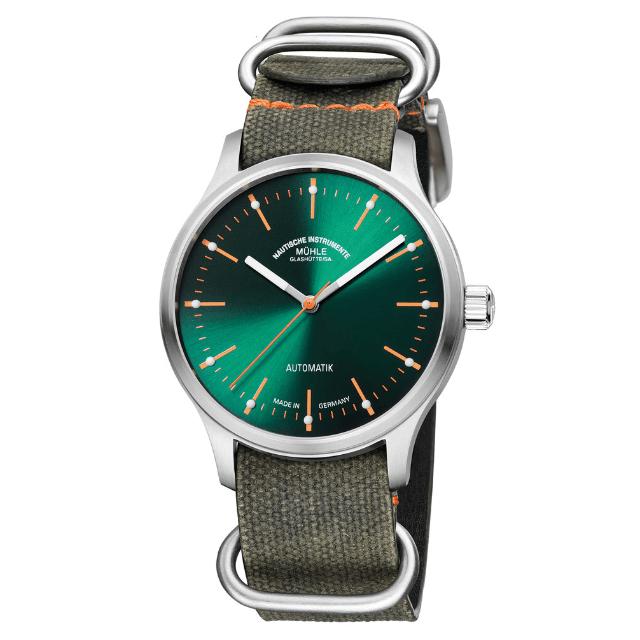 Mühle Glashütte Panova Grün Uhr aus Edelstahl mit Natoarmband