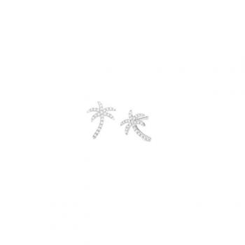 Diamant Ohrstecker Palme Weißgold
