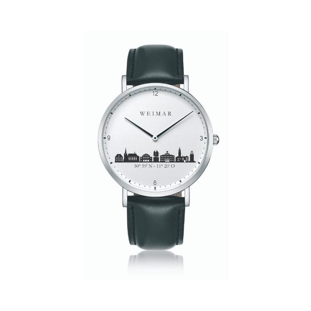 Weimar Uhr Stahl 36mm Lederband