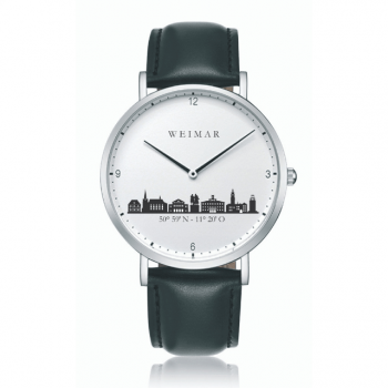 Weimar Uhr Stahl 40mm Lederband