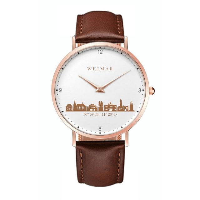 Weimar Uhr rosé 40mm Lederband