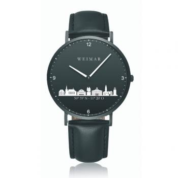 Weimar Uhr schwarz 40mm Lederband