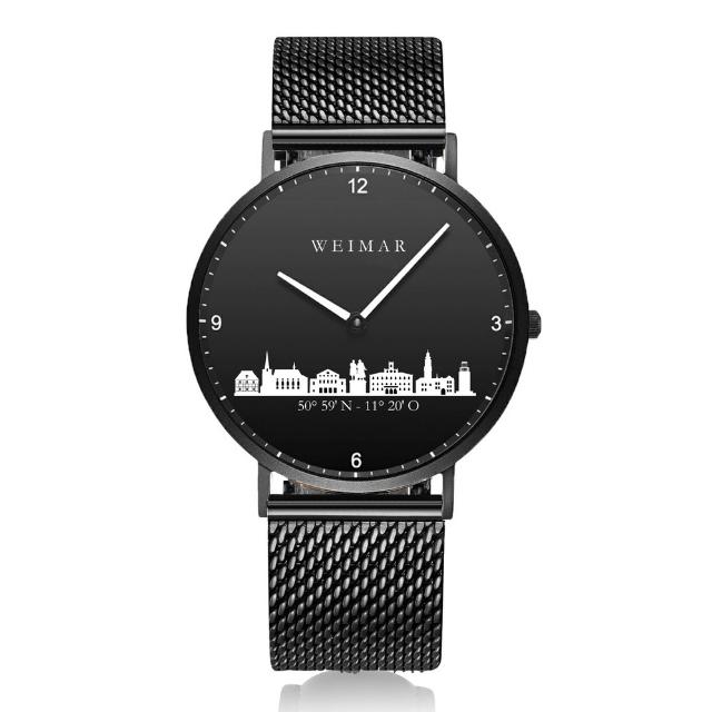 Weimar Uhr schwarz 40mm Milanaiseband