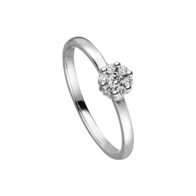 Brillant Ring Blüte klein Weißgold