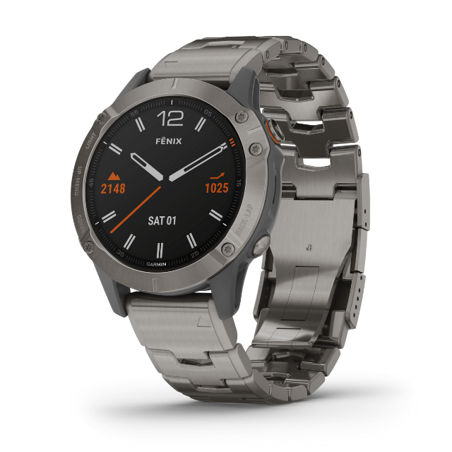Garmin fenix 6 Sapphire Titanium Uhr aus Titan mit Metallarmband