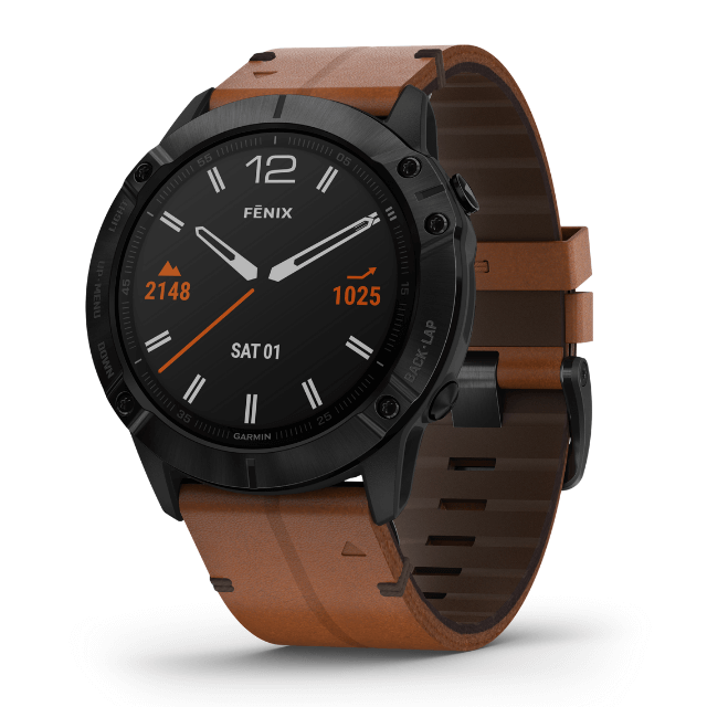 GGarmin fenix 6X Sapphire Black DLC Uhr aus Fiber Polymer mit Lederarmband