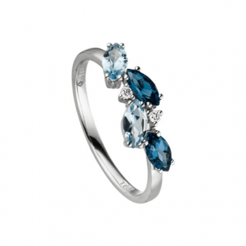Ring mit Blautopas und Brillanten Weißgold