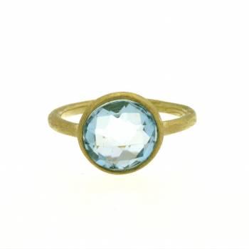 Blautopas Ring Gelbgold mattiert