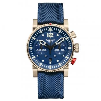 Hanhart Primus Nautic Pilot Bronze 740.170-3320: Vorderseite des Chronograph in blau aus Edelstahl mit Bronze Beschichtung mit weißen Zeigern und blauem Textilarmband