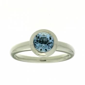 Aquamarin Ring rund Weißgold