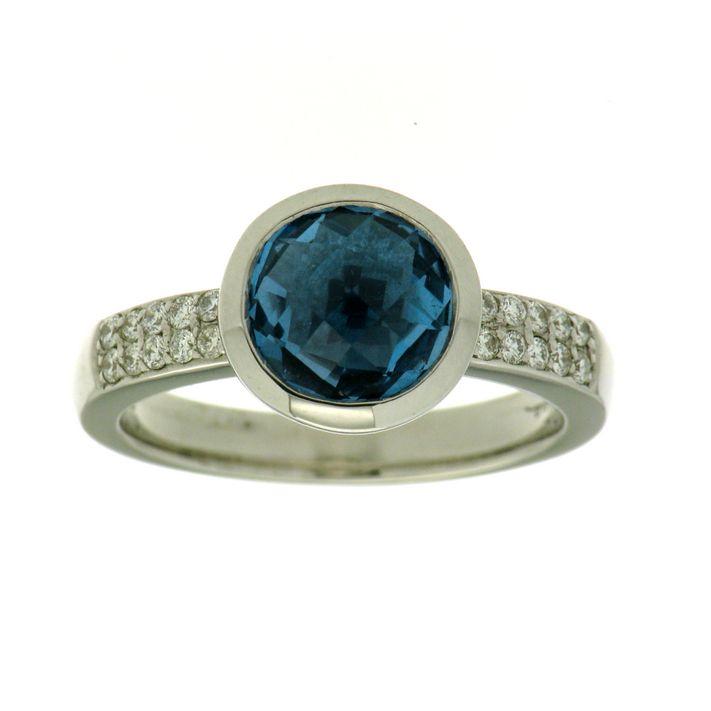 Blautopas Brillant Ring Weißgold