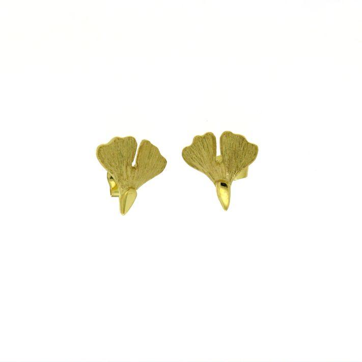 Ginkgo Ohrstecker Gold klein 375