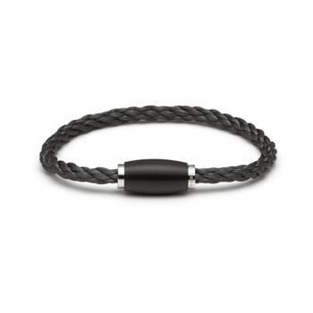 Monomania Armband Edelstahl geflochten schwarz 45801D02