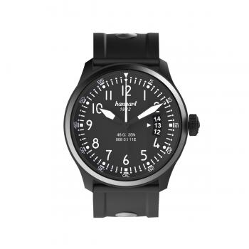 Hanhart S-Serie S 105 OE: Vorderseite der Uhr in schwarz aus Edelstahl mit weißen Zeigern und schwarzem Kautschuk-Armband