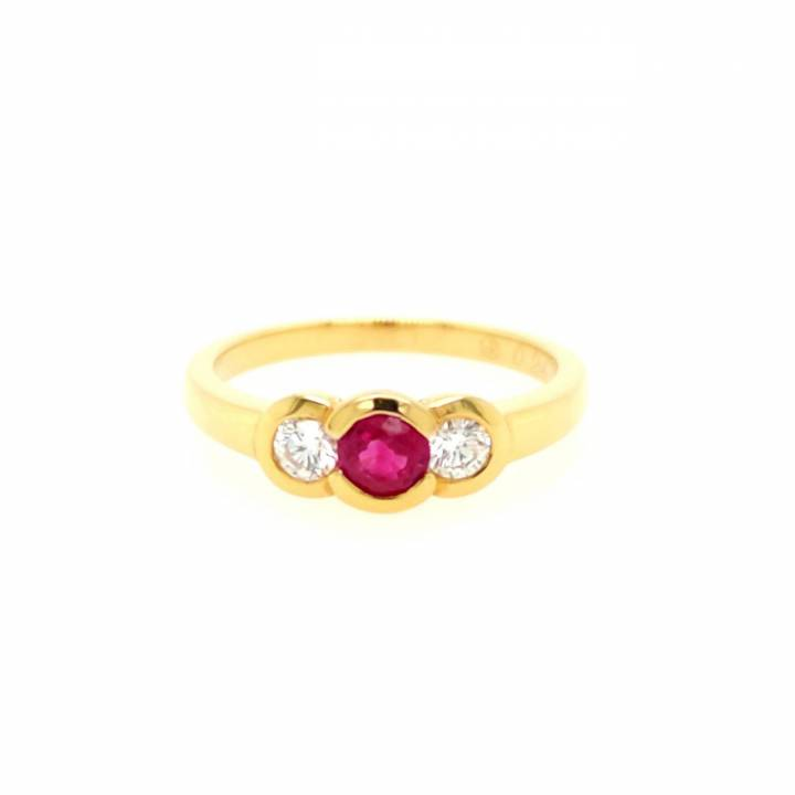 Rubin Brillant Ring Gelbgold