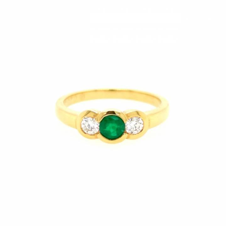 Smaragd Brillant Ring Gelbgold