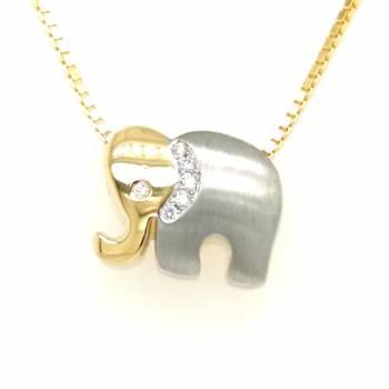 Anhänger Elefanten mit Brillanten bicolor