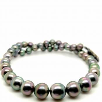 Tahiti Perlenkette pfauenfarben 6,7-8,6