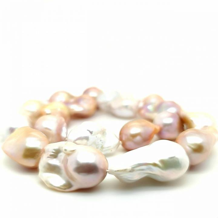Süßwasser Perlenkette barock multicolor 14-16