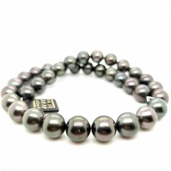 Tahiti Perlkette dunkel 12-12,9