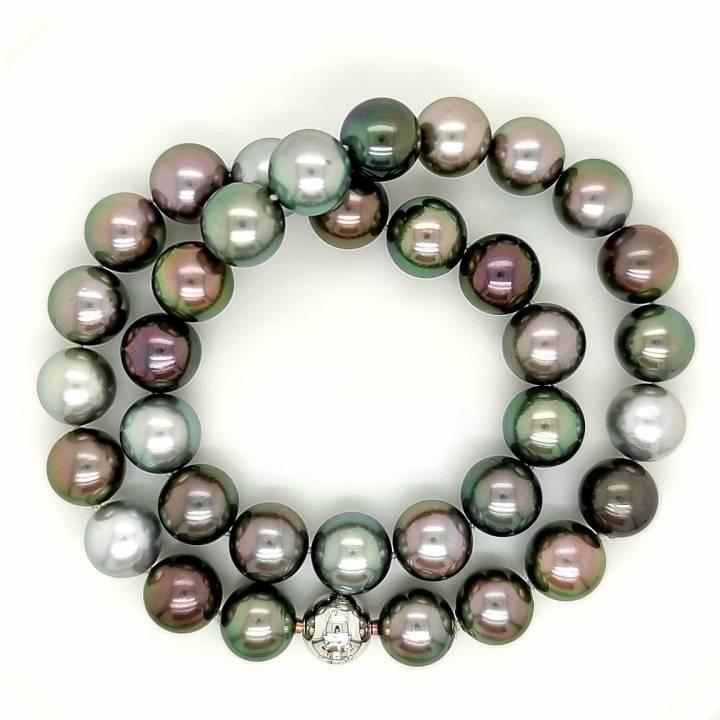 Tahiti Perlkette multicolor 12,1-12,9
